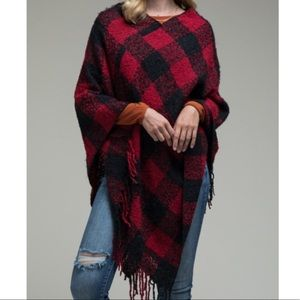 Two Tone Buffalo Plaid Long Fringe Poncho OS